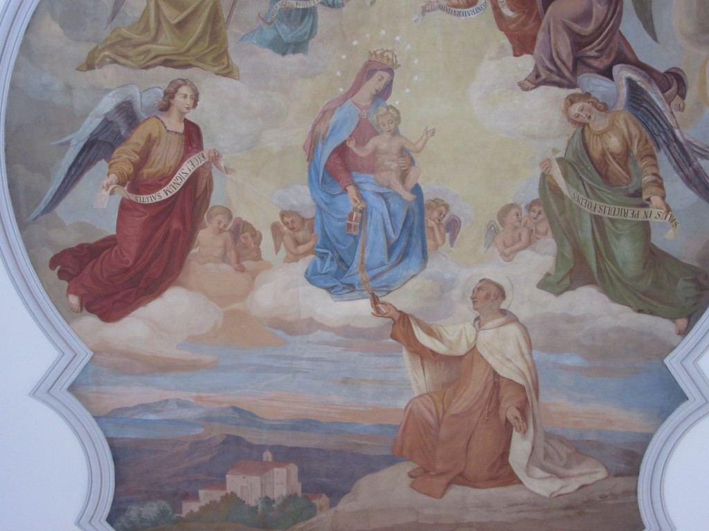Der heilige Simon empfängt das Skapulier