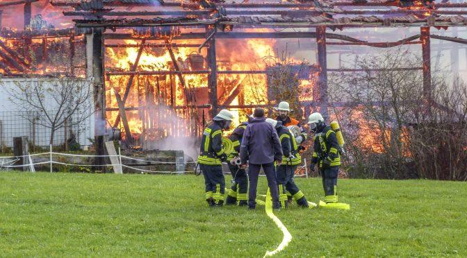 Feuerwehr bei Grossbrand im Einsatz